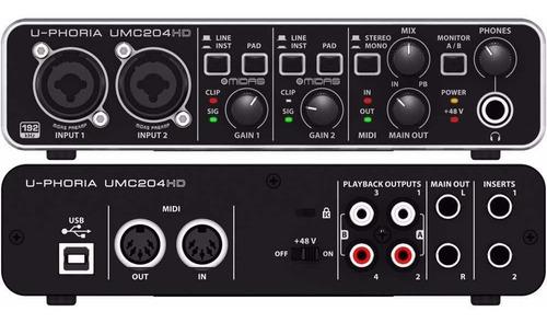 Interfaz De Grabación Behringer Umc204hd Interface U-phoria