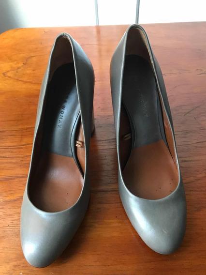 Zapatos Finos Zara De Cuero Gris Taco Plata Nuevos Talle 37