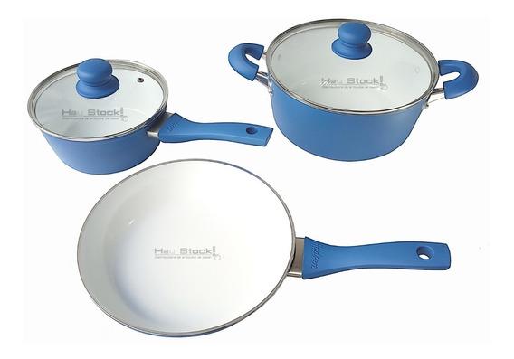 Bateria Cocina 5 Pz Set Ceramica Apto Induccion Olla Sarten