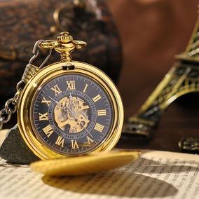 Relógio Bolso Mecanismo A Corda Skeleton Golden Ref: G01m
