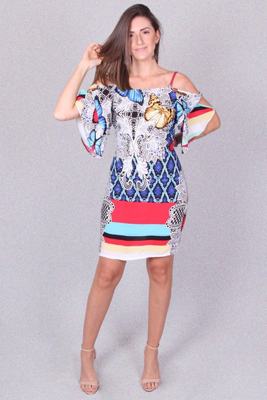 Vestido Estampado Marca Padrão - Asya Fashion
