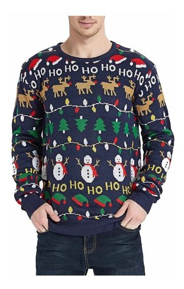 Suéter Navideño, Suéter Navidad Azul Hombre