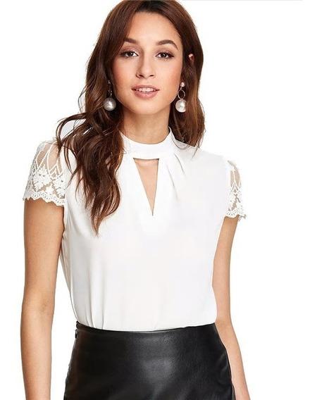 Blusa Elegante Blanca Tallas Xs S M Encaje Nueva En Stock