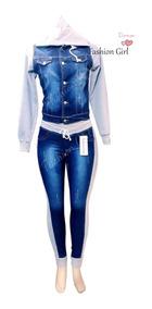 Jaqueta Jeans Com Moletom + Calça Com Moletom Feminina =)