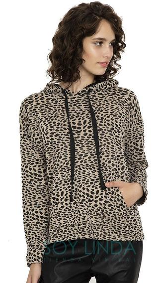 Buzo De Jackard Leopardo Print Canguro Capucha Moda 2020