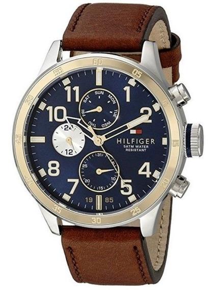 Reloj Tommy Hilfiger Para Hombres 46mm, Pulsera De Piel