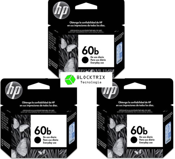 Kit 3 Cartuchos Hp 60b Preto Original Cc636wb 4,5ml