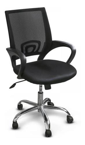 Imagen 1 de 2 de Silla de escritorio Top Living F-SILL2 ergonómica  negra con tapizado de tela y mesh