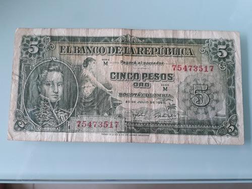 Imagen 1 de 2 de Billete De 5 Pesos De Colombia De 1960