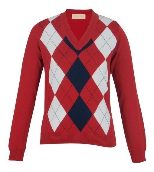 Blusa Trico Tricot Sueter Feminino Vermelho Losango Vermelha