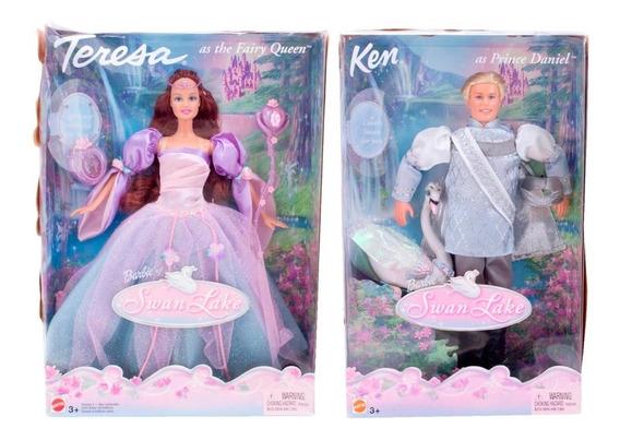 Boneca Barbie Swan Lake Teresa Fairy Queen E Ken Prince Dani