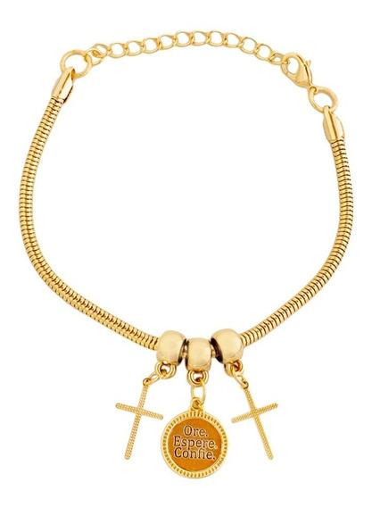 Pulseira Crucifixo Medalha Ore Espere E Confie Folheado Ouro