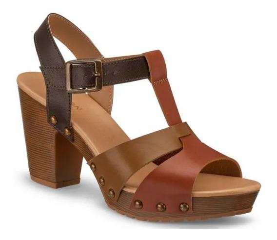 Sandalia Zapato T-bar Mujer Café Modelo 2556703 Andrea