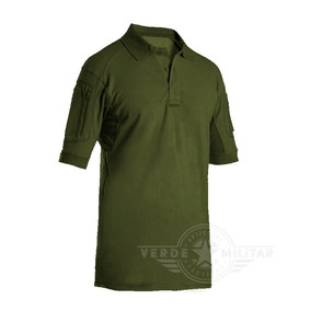 Playera Polo Camisa Tactica Verde Porta Insignia Parches