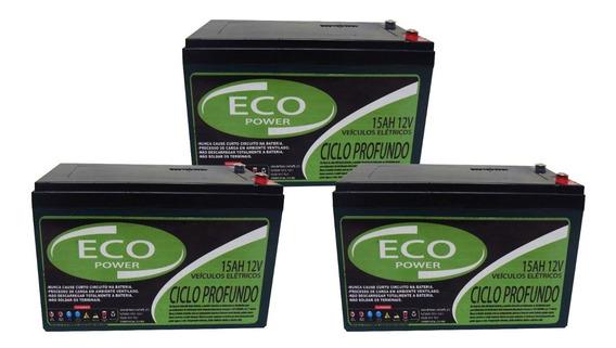 Kit Bateria 3un 15ah 12v Bike Elétrica 6-dzm-12