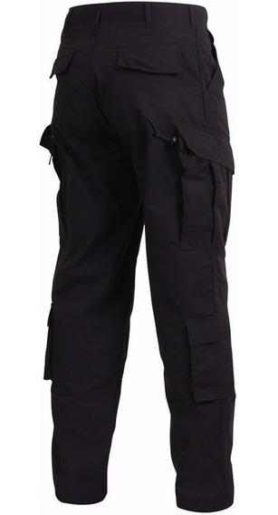 Pantalon Tactico Corte Acu Americano Ripstop Negro Policial
