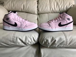 Tenis Air Jordan Retro 1 Mid Pink Foam Del 25mx Para Dama