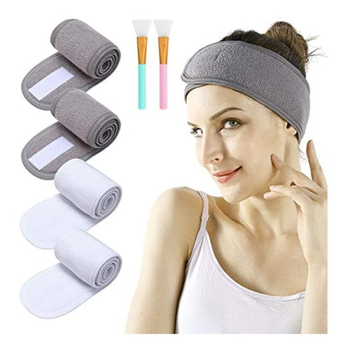 Spa Facial Headband - 4pcs Makeup Headband Stretch Head Wrap