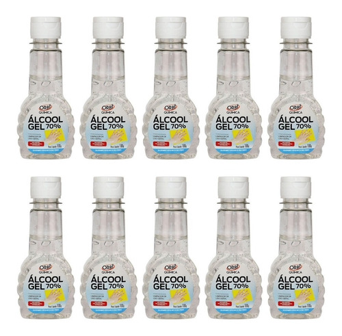 Alcool Gel 70 % Antisséptico Pequeno Orbi 100g C/10