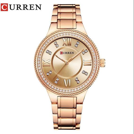 Relógio Feminino Rosê A Prova De Água Curren Com Garantia