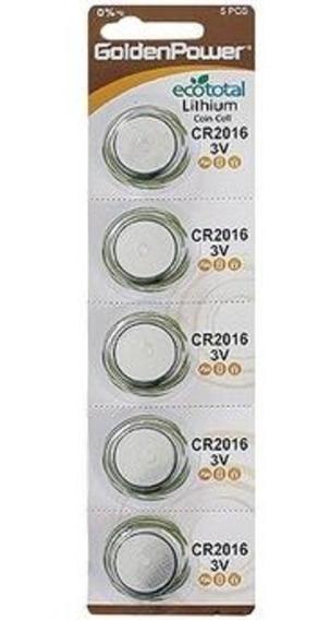 Bateria Cr2016 3v Golden Power Blister 5 Unidades