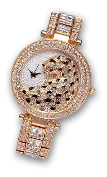 Relógio Feminino Dourado Leopard Diamantes Banhado Ouro 18k