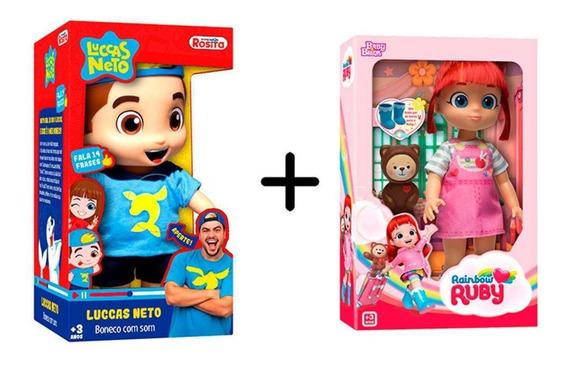 Combo Boneco Luccas Neto - Rosita + Boneca Rainbow Ruby - Ba