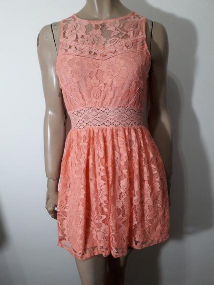Forever 21 Vestido De Encaje Coral Talle M Impecable