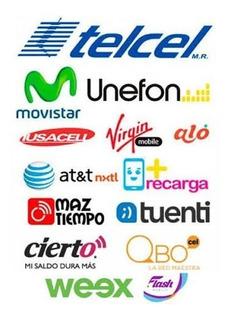 Recarga Inmediata Todas Compañias 100 Telcel,movistar,etc