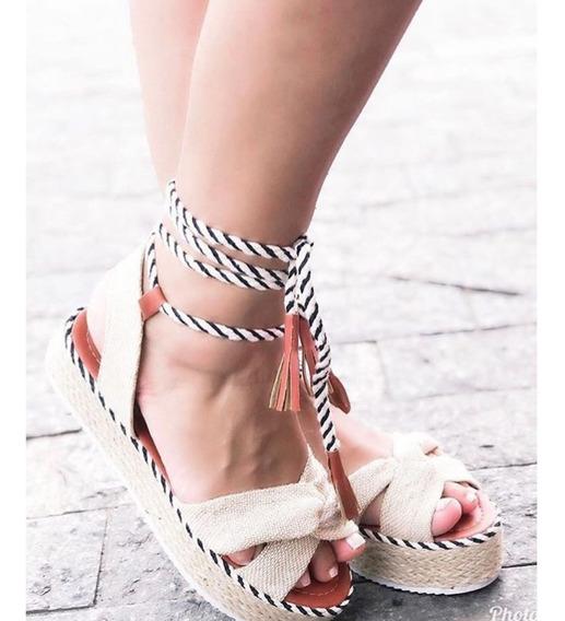 Sandália Feminina Corda Amarrar Elegante Super Confortável