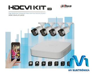 Kit De Vigilancia Dvr + 4 Camaras 720p Pentahibrido Dahua Mv