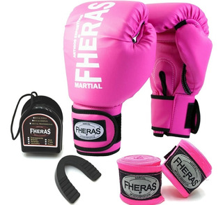 Kit Luva Boxe Muay Thai Fheras Top Rosa Com Bandagem Bucal