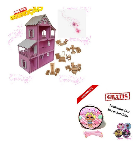 Casa Casinha Polly Pintada Rosa +27moveis+bolsinha Lol