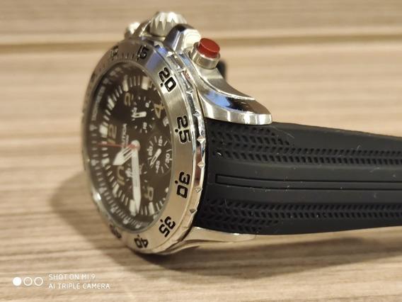 Relógio Nautica Com Pulseira Preta E Corpo Inox
