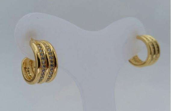 Brinco Feminino Dourado Banhado Ouro 18k Zirconia Cravejada