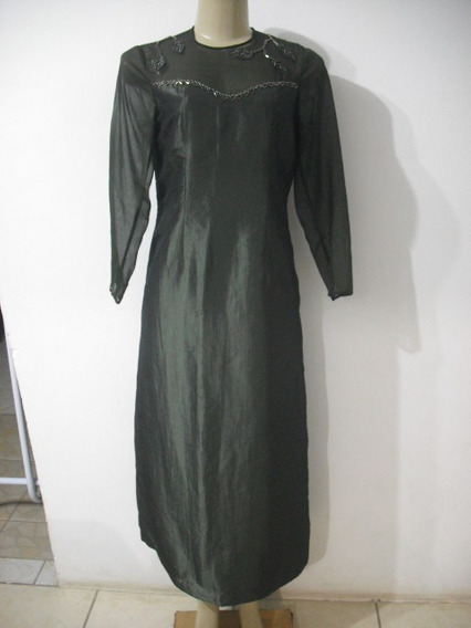 Vestido Verde Longo Manga Longa P M Forrado Bom Estado