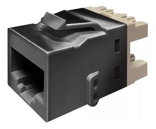 Imagen 1 de 5 de Conector Hembra Negro Jack Rj45  Cat 6 Amp Commscope