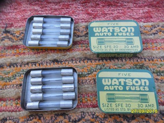 Lote 2 Antiguas Cajas Metal Fusibles Watson Total 10 Unid