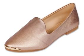 Calzado Dama Mujer Zapato Flat Clasben Tipo Piel Oro Rosado