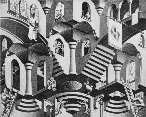 Poster Escher 60x75cm Concavo E Convexo Decorar Casa