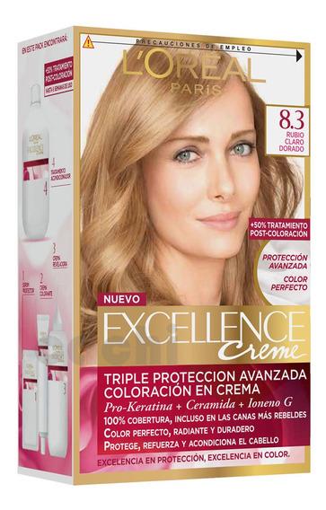 Tinta Loreal Excellence Creme Rubio Claro Dorado 8.3