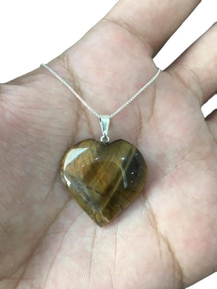 Colar Pedra Olho De Tigre Coração Cordão Prata 925 Cl75