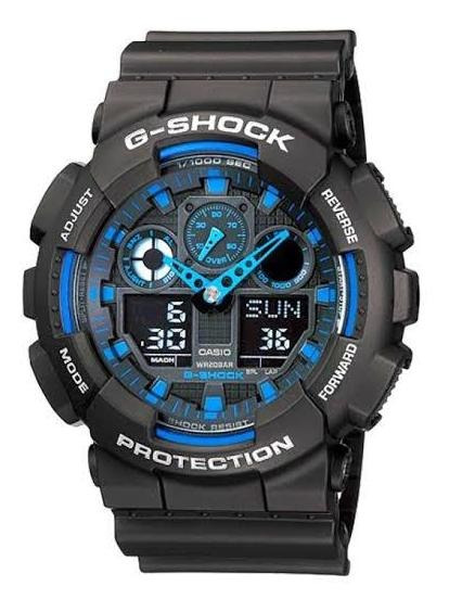 Relogio Casio Gshock Ga100 Preto/azul Novo Analogico/digital