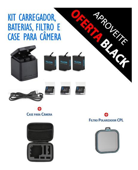 Carregador Telesin + 3x Baterias + Filtro Cpl + Bolsa