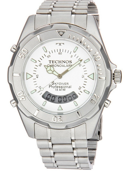 Relógio De Pulso Technos Skydiver Prateado (t20557/3b)