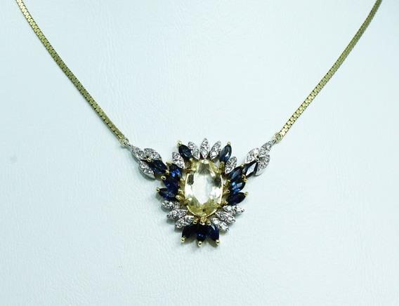 Pocao2005- Colar Ouro 18k Diamante Safira 12x S/j Ft/gt C263
