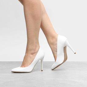 df6e1f4443 Scarpin Preto Bico Redondo - Sapatos Branco no Mercado Livre Brasil