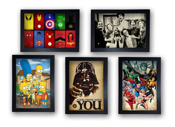Kit 5 Quadros Decorativos Geek Nerd Gamer Herois Com Moldura