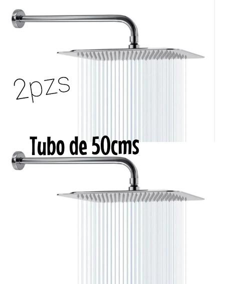Regadera De Lujo 2pzs Acero Inoxidable Incluye Tubos 45cms