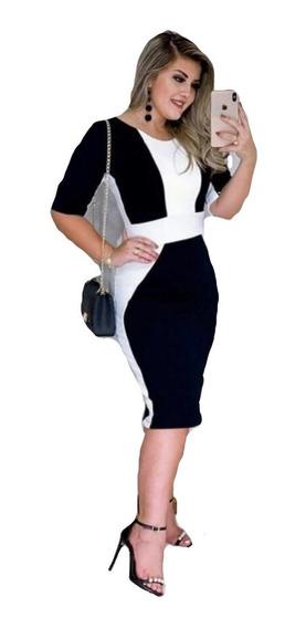Vestido Feminino Barato - Evangélico - Midi - Justo Bicolor